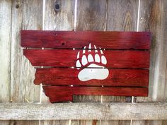 State of Montana sign with a nice Griz paw to decorate your home to support the Montana Grizzlies!