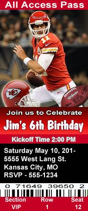 Kansas City Chiefs Football Theme Birthday Party Invitations Ticket Style Personalized