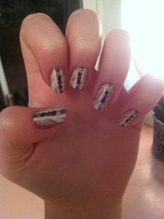My tribal print nails from missjenfabulous Tribal Print Nails, Tribal Prints, Bohemian Nails, Cool Nail Designs, Fun Nails