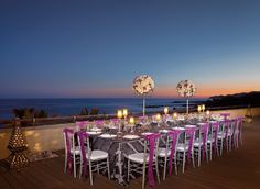 Secrets Marquis Los Cabos.  A group dinner set-up with stunning views of the Sea of Cortes.