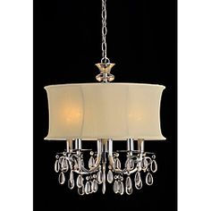 @Overstock - Setting: Indoor  Fixture finish: Chrome  Shades: White, fabrichttp://www.overstock.com/Home-Garden/White-Shade-5-light-Crystal-Chandelier/6404916/product.html?CID=214117 $126.99