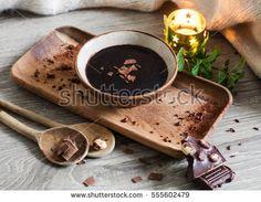 liquid dark chocolate inside bowl