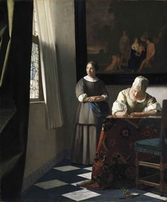 Ян Вермеер. Дама, пишущая письмо, и её служанка 1670 г.