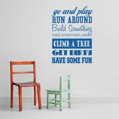 Go and Play wall decal quote
