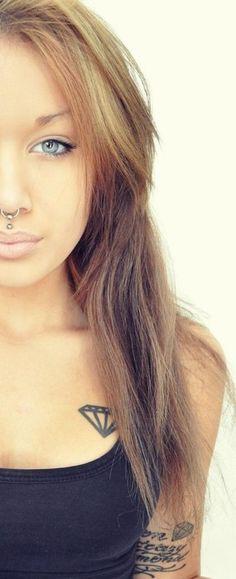 Beautiful girl with diamond