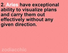 Aries are able to visual plans and carry them effectively without a given direction