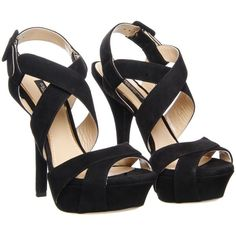 Dolce & Gabbana Black Suede High-Heeled Sandals (2.635 BRL) ❤ liked on Polyvore