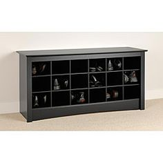 Broadway Black Shoe Cubbie Storage Bench