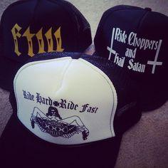 seriously, a TON of OG bike trucker hats at killscumspeedcult.com  TAGS: forever two wheels, ride choppers hail satan, ftw, fuck the world, ride or die, ironhead, vintage biker, biker shirt, retro hats, retro trucker hat, vintage trucker, biker swag