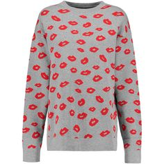 Etre Cecile Lips intarsia-knit sweater ($225) ❤ liked on Polyvore featuring tops, sweaters, grey, gray top, knit tops, lips sweater, grey sweater and intarsia sweater