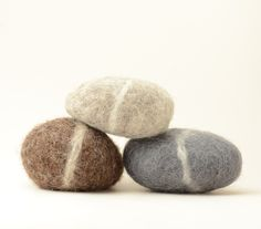 Felted Stones - grey brown natural home decor rocks nature eco friendly by feltjar on Etsy