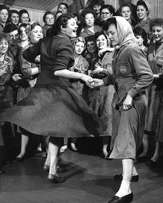 1940s dance off factory fashion rosie the riveter overalls skirt shoes scarf funny found photo