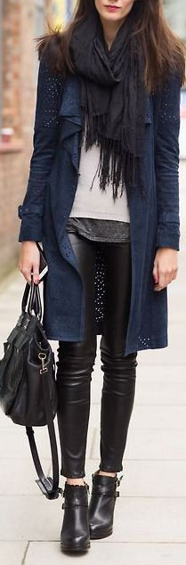 <3 1. F21 Pleather Pants 2. Grey Gap Undershirt 3. Blue Maurices Long Navy Cardigan 4. Grey Bow Heels 5. Switch black scarf for light blue scarf