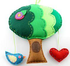 Eco Felt Tree Plush Mobile Wall Hanging Bird Heart Teal Green Red Childrens Decor Woodland. $32.00, via Etsy.