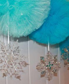 Frozen Winter Wonderland Pom Pom with Snowflake by prettimini, $11.00