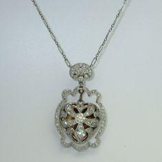 Antique Edwardian Platinum, Diamond, 14K Gold Heart Locket - circa 1910
