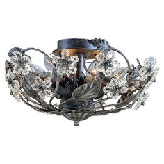 Bring+glittering+style+to+your+living+room,+dining+room,+or+foyer+with+this+elegant+semi-flush+mount,+featuring+leaf-inspired+accents+and+clear+beads.