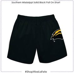Let them enjoy on game day in this Southern Mississippi Solid Black Pull On Short An officially Licensed product from Vive La Fete Collegiate Elastici waist Southern Miss Golden Eagles, Mississippi, Solid Black, Game, Swimwear, Collection, Fashion, Bathing Suits, Moda