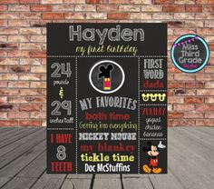 Mickey Mouse 1st Birthday Chalkboard Poster // by MsThirdGrade
