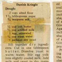 Danish Dessert, Danish Food, Danish Pastries, Old Recipes, Vintage Recipes, Recipies, Danish Kringle, Pastry Recipes, Cookie Recipes