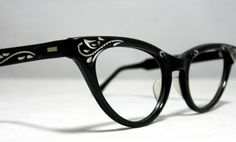 c91b7bd0913b Vintage Cat Eye Glasses Frames. Black and by CollectableSpectacle