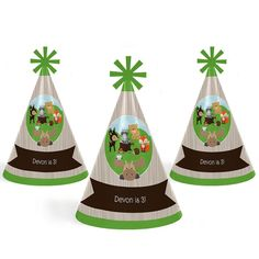 Custom Woodland Creatures Personalized Cone Happy Birthday Party Hats Kids Adults Set Of 8 Standard Size