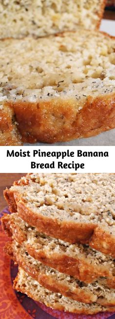 Moist Pineapple Banana Bread Recipe - Moist Pineapple Banana Bread takes a tropical twist on classic banana bread, using crushed pineapple and coconut. Pineapple Banana Bread Recipe, Banana Bread Recipes, Overripe Banana Recipes, Banana Bread Cookies, Quick Bread Recipes, Just Desserts, Dessert Recipes, Dessert Aux Fruits, Dessert Bread