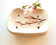 Ceramic soap dish cherry blossom creamy white ceramic Sakura bathroom guest room. £14.00, via Etsy.