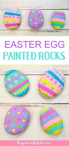 These painted Easter egg rocks are super easy and tons of fun for kids to make! Use them as part of your Easter decor or include them in a non-candy Easter egg hunt! #eastercrafts #rockpainting #projectswithkids