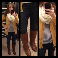 Mustard cardigan outfit | What I wore | Pinterest