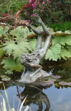 #Bronze Garden Or Yard / Outside and Outdoor #sculpture by #sculptor Colin Caffell titled: 'Naiad (bronze Metal Water nude Nymph Virgin garden Pond statue)'. #art #artist #artwork #ColinCaffell