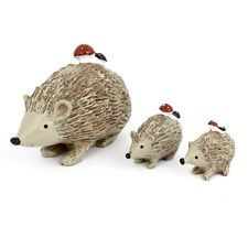 Brown Resin Emulational Hedgehog Ornament 3 PIeces
