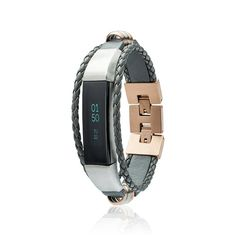Alta Bracelet  Aurel - Grey / Rose Gold - Stainless steel and real leather