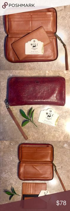 NWT Gorgeous Genuine Will Leather Goods Clutch Organize your life with the Will Leather Goods Imogene Clutch. Use it with your purse or grab it alone and head to dinner or a concert. With space for your phone (even your big iPhone!) all of your essentials are kept in one place. Made with genuine Lambskin known for its softness, washed to give just the right amount of texture. Signature details include a custom pull zipper modeled after Will's 1940 leather bomber jacket and a leather…