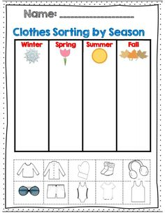 clothes sorting by season for k-2 part of 60 page weather and seasons unit! Repinned by SOS Inc. Resources pinterest.com/sostherapy/.: