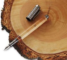 Fine pens made from dated tree ring cores. Mark the year of your anniversary, birth, retirement, or other milestone. Fine Pens, Pen Blanks, Custom Pens, Pen Design, Pen Turning, Dip Pen, Fountain Pen Ink, Writing Instruments, Wood Turning Lathe