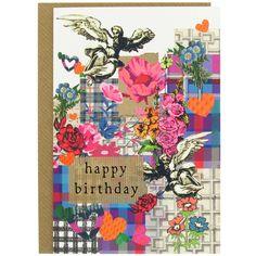 A beautiful birthday card with design in blues, pinks, and purples, printed on textured board. Exclusive at Paperchase. #cards #greetingcards