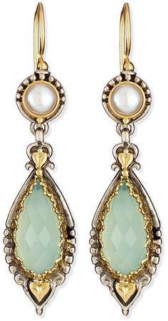 Konstantino Amphitrite Sea Blue Agate & Pearl Drop Earrings
