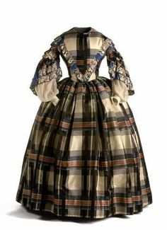 In the Swan's Shadow: Silk Taffeta Plaid Day Dress, 1850s