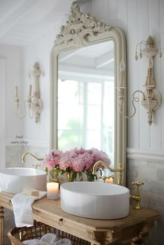 Elegant French cottage bathroom renovation peek & why I am in love already - French Country Cottage French Bathroom Decor, French Decor, French Country Decorating, Bathroom Ideas, Bathroom Mirrors, Bathroom Cabinets, Parisian Bathroom, Bathroom Designs, Bathroom Renovations
