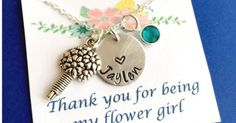 Just Pinned to How To Make It: Thank you for being my Flower Girl Necklace Flower Girl Gift http://ift.tt/2lus7pL