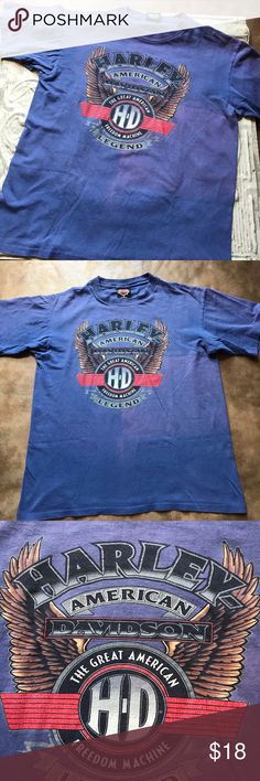 Harley Davidson T,  Kersting's Indiana Harley Davidson T-shirt. Fabric is a faded blue cotton. There is a Harley Davidson emblem on the front. The back recognizes Kersting's Harley Davidson in North Judson, Indiana. The top is in perfect condition. Thanks for visiting my closet. Harley Davidson Shirts Tees - Short Sleeve
