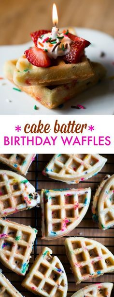 Cake Batter Birthday Waffles - These fluffy and delicious waffles are so easy to make using a boxed cake mix and your waffle iron. Plus, sprinkles, of course! Taylor likes pancakes better than waffles Delicious Desserts, Dessert Recipes, Yummy Food, Homemade Desserts, Easy Desserts, Dessert Food, Waffle Maker Recipes, Pancake Recipes, Pancake