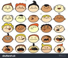 Set Of Cartoon Character Faces Stock Vector Illustration 381217600 ...