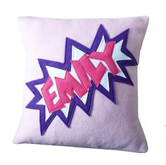Personalised comic style fleece cushion by MinXtures on Etsy, £20.00
