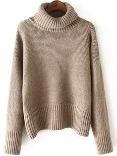 I NEED THIS ! Really really need a comfy turtleneck knitwear to live this cold winter .This Dropped Shoulder Seam Pale Khaki Jumper is just what i want ! So happy !