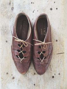 vintage chocolate leather oxfords