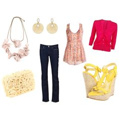 Pink & Yellow - (Shirt, over shirt, jeans, shoes, jewelry, purse)