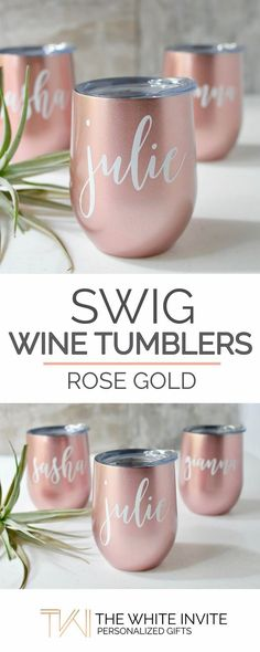 Rose Gold Swig Wine Tumbler Bridesmaid Gift - Bachelorette Gift -Custom Personalized Monogrammed Tumbler With Lid These rose gold SWIG stemless wine glasses with a lid personalized with the name of your choice are a unique wedding favor keepsake to your bridesmaids & maid of honor or gift to a friend to keep your beverage COLD. This personalized wine glass tumbler is a stylish way of giving a gift or simply saying thank you to someone you love.