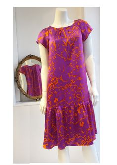 My new limited edition Agnes Dress in hot fuschia and tangerine silk. Just one of these hand made pieces available in this fabric. www.thewhiteroomse4.co.uk
